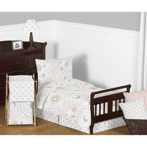 Sweet Jojo Designs Blush Pink, Gold and Grey Star and Moon Celestial Collection Girl 5-piece Toddler-size Comforter Set