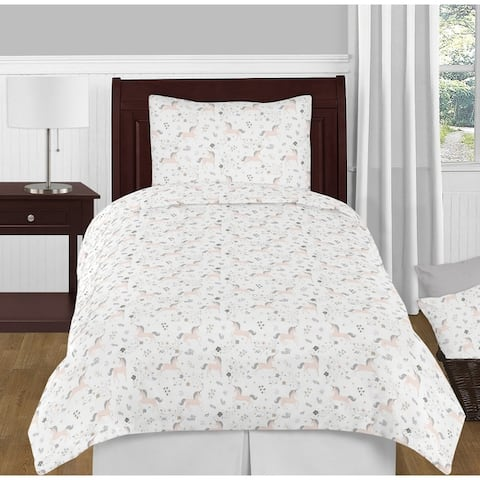 Sweet Jojo Designs Pink, Grey and Gold Unicorn Collection Girl 4-piece Twin-size Comforter Set
