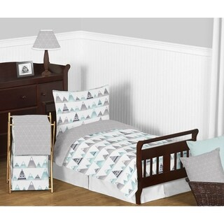 Sweet Jojo Designs Navy Blue, Aqua and Grey Aztec Mountains Collection Boy or Girl 5-piece Toddler-size Comforter Set