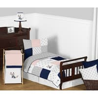 Sweet Jojo Designs Navy Blue, Pink, Grey Patchwork Woodland Fox Arrow Collection Girl 5-piece Toddler-size Comforter Set