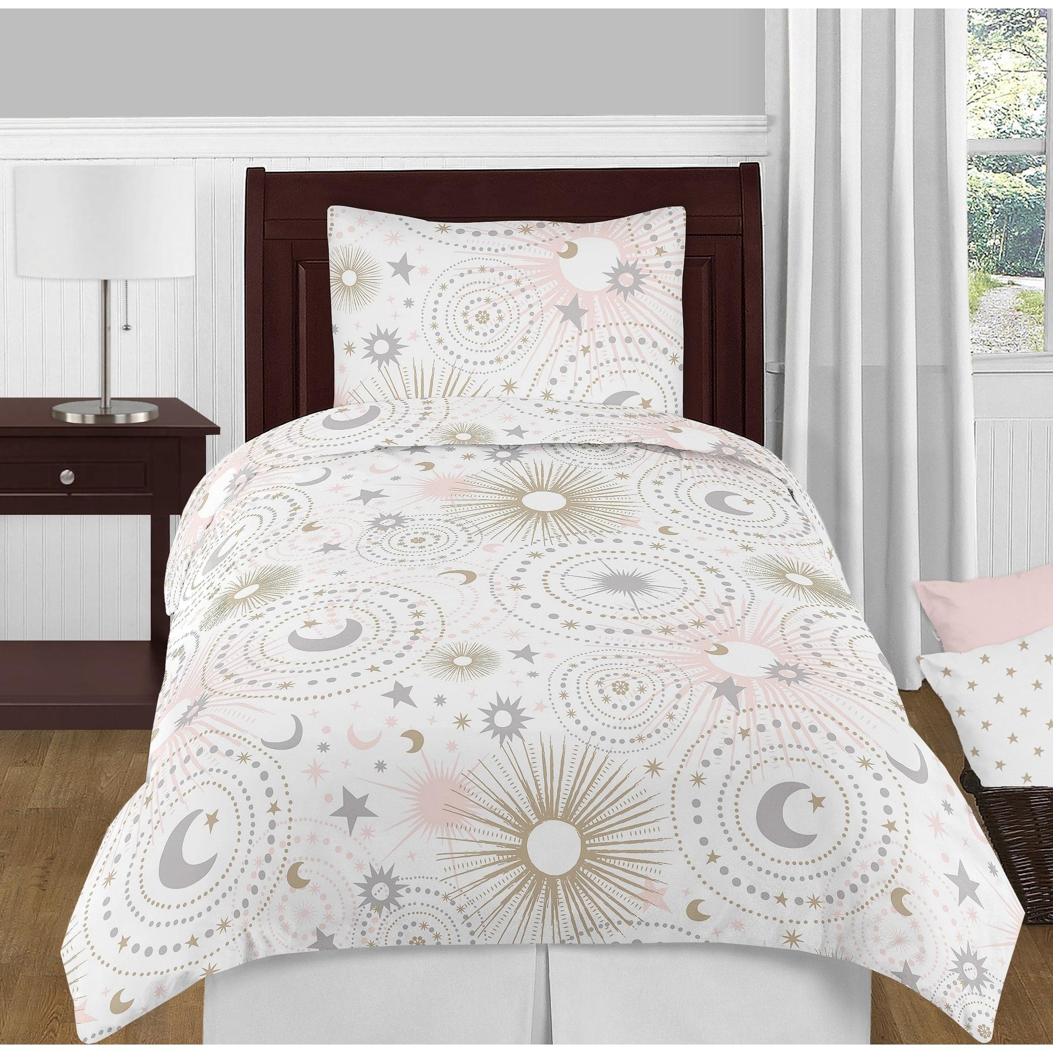 JoJo Designs Blush Pink, Gold, Grey and White Star Moon C...