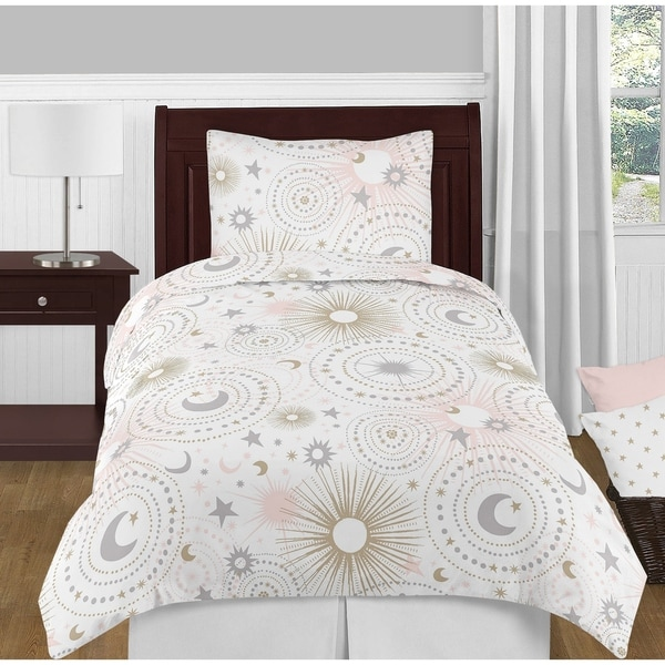 Sweet Jojo Designs Blush Pink, Gold, Grey and White Star Moon Celestial Collection Girl 4-piece Twin-size Comforter Set