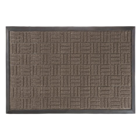Door Mat Indoor/Outdoor Welcome Mat- Nonslip Rubber Parquet Design by Windsor Home