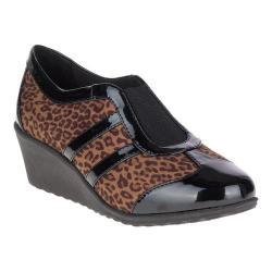 Women's Soft Style Mallorie Wedge Leopard Textile/Patent Polyurethane