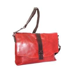 Nino Bossi Lorena Large Leather Messenger Bag Tomato