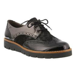Women's Spring Step Yulene Wingtip Brogue Black Patent Leather/Dusted Metallic Suede