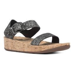 Women's FitFlop Bon Backstrap Wedge Sandal Black/White Cirque/Cork
