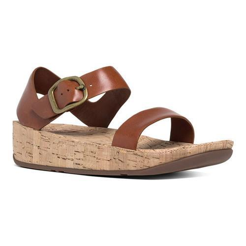a2e2a8466 Women  x27 s FitFlop Bon Backstrap Wedge Sandal Dark Tan Leather Cork