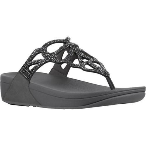 61fb693f9141 Women  x27 s FitFlop Bumble Wedge Thong Sandal Pewter Leather  Microfiber Micro
