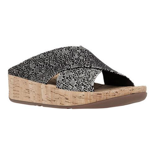 a0ca737cbcfe Shop Women s FitFlop KYS Wedge Slide Sandal Black White Cirque Suede ...