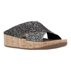 Women's FitFlop KYS Wedge Slide Sandal Black/White Cirque Suede/Cork (2 options available)