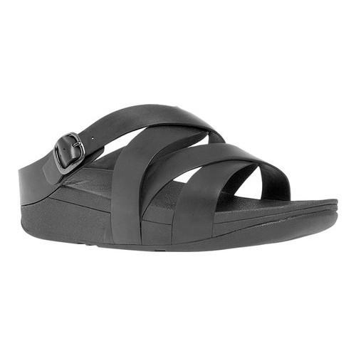 3b01fb99a866aa Shop Women s FitFlop The Skinny Criss-Cross Slide Sandal All Black Leather  - Free Shipping Today - Overstock - 16995675