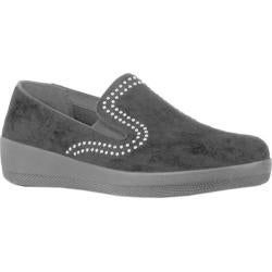 Women's FitFlop Superskate Water Resistant Loafer Black Studded Suede