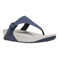 Women's FitFlop The Skinny Thong Sandal Midnight Navy Canvas