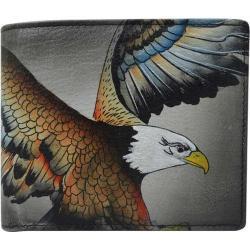 Men's Anuschka Hand Painted Leather RFID Blocking Bi-Fold Wallet American Eagle