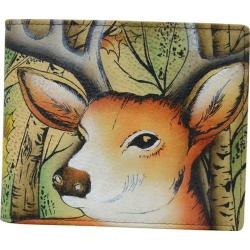 Men's Anuschka Hand Painted Leather RFID Blocking Bi-Fold Wallet Forest Buck