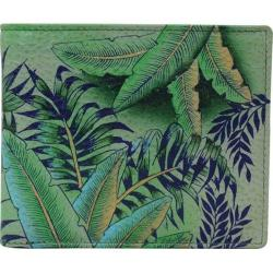 Men's Anuschka Hand Painted Leather RFID Blocking Bi-Fold Wallet Tropical Island