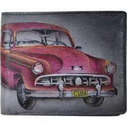 Men's Anuschka Hand Painted Leather RFID Blocking Bi-Fold Wallet Vintage Car