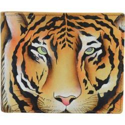 Men's Anuschka Hand Painted Leather RFID Blocking Bi-Fold Wallet Wild Tiger