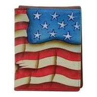 Men's Anuschka Hand Painted Leather RFID Blocking Tri-Fold Wallet Stars and Stripes