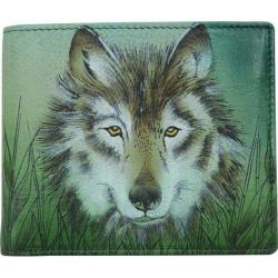 Men's Anuschka Hand Painted Two Fold Organizer Wallet Western Wolf
