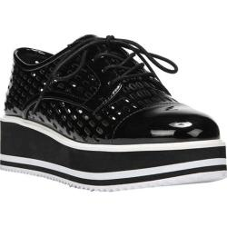 Women's Fergie Footwear Dolly Perforated Platform Oxford Black Patent PU