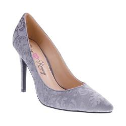 Women's Penny Loves Kenny Opus Baroque Cut Pointed Toe Pump Grey Velvet