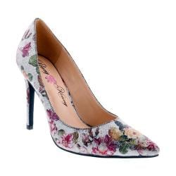 Women's Penny Loves Kenny Opus Metallic Floral Pointed Toe Pump Pewter Metallic Floral Polyurethane