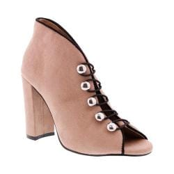 Women's Penny Loves Kenny Ratch Open Toe Bootie Nude Microsuede