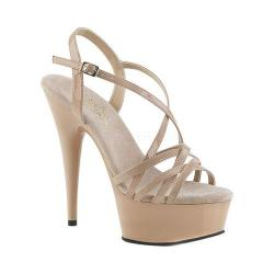 Women's Pleaser Delight 613 Strappy Sandal Nude Patent/Nude