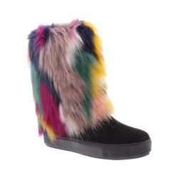 Women's Penny Loves Kenny Airbrush Fur Boot Black Microsuede/Multi Faux Fur
