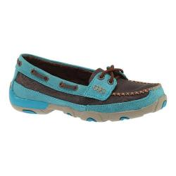 Women's Twisted X Boots WDM0021 Driving Moc Brown/Turquoise Leather