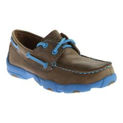 Children's Twisted X Boots YDM0016 Driving Moc Bomber/Neon Blue Leather