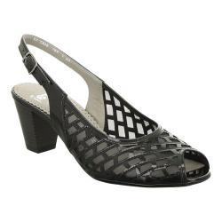 Women's ara Trish 32023 Peep Toe Slingback Black Patent/Mesh