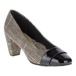 Women's Soft Style Mabry Pump Black Plaid Fabric/Synthetic Patent