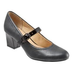 Women's Trotters Candice Mary Jane Pewter Washed Leather/Black Patent