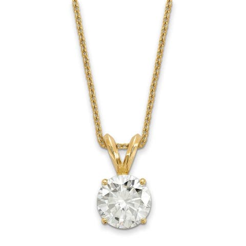 Moissanite 14 Karat Yellow Gold 4.0 mm Round Solitaire Pendant on 18 Inch Cable Necklace by Versil