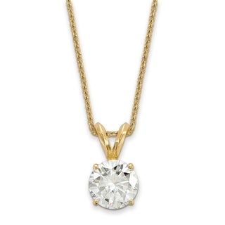 14 Karat Yellow Gold 4.0 mm Round True Light Moissanite Solitaire Pendant on 18 Cable Necklace
