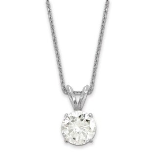 14 Karat White Gold 6.5 mm Round True Light Moissanite Solitaire Pendant on 18 Cable Necklace