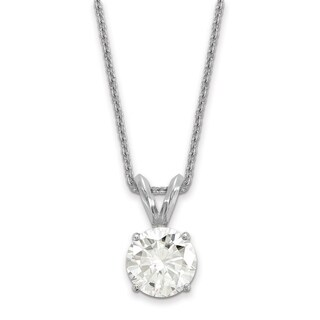 14 Karat White Gold 4.0 mm Round True Light Moissanite Solitaire Pendant on 18 Cable Necklace