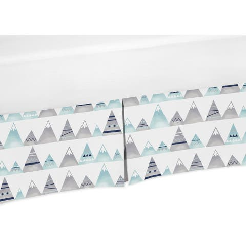 Sweet Jojo Designs Navy Blue, Aqua and Grey Aztec Mountains Baby Boy or Girl Unisex Collection Crib Bed Skirt