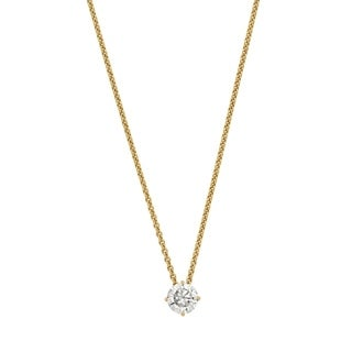 14 Karat Yellow Gold 6.0 mm Round True Light Moissanite Solitaire Pendant on 18 Cable Necklace
