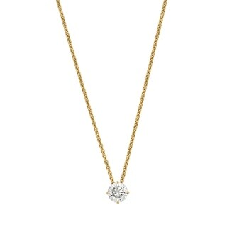 14 Karat Yellow Gold 6.5 mm Round True Light Moissanite Solitaire Pendant on 18 Cable Necklace