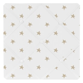 Sweet Jojo Designs Gold and White Star Celestial Collection 13-inch Fabric Memory Photo Bulletin Board