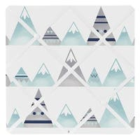 Sweet Jojo Designs Navy Blue, Aqua and Grey Aztec Mountains Collection 13-inch Fabric Memory Photo Bulletin Board