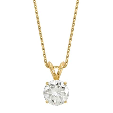 14 Karat Yellow Gold 8.0 mm Round True Light Moissanite Solitaire Pendant on 18 Cable Necklace
