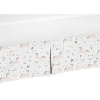 Sweet Jojo Designs Pink, Grey and Gold Unicorn Collection Toddler Bed Skirt