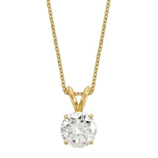 14 Karat Yellow Gold 7.5 mm Round True Light Moissanite Solitaire Pendant on 18 Cable Necklace
