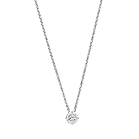 14K White Gold 5mm Round True Light Moissanite Solitaire Pendant 0.5ct. Necklace by Versil