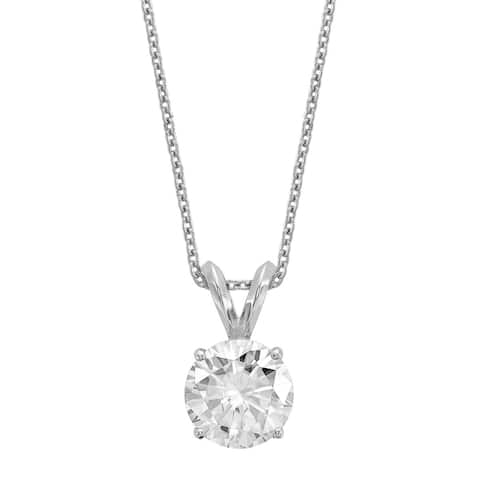 14K White Gold 7.5mm Moissanite Solitaire Pendant Necklace by Versil